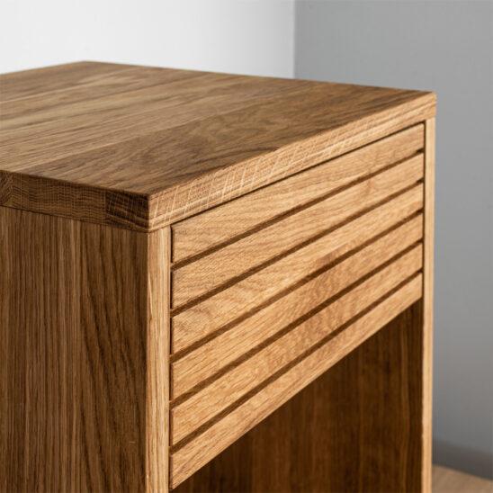 yöpöytä, modern nightstand, wooden nightstand, oak nightstand, wooden bedside table
