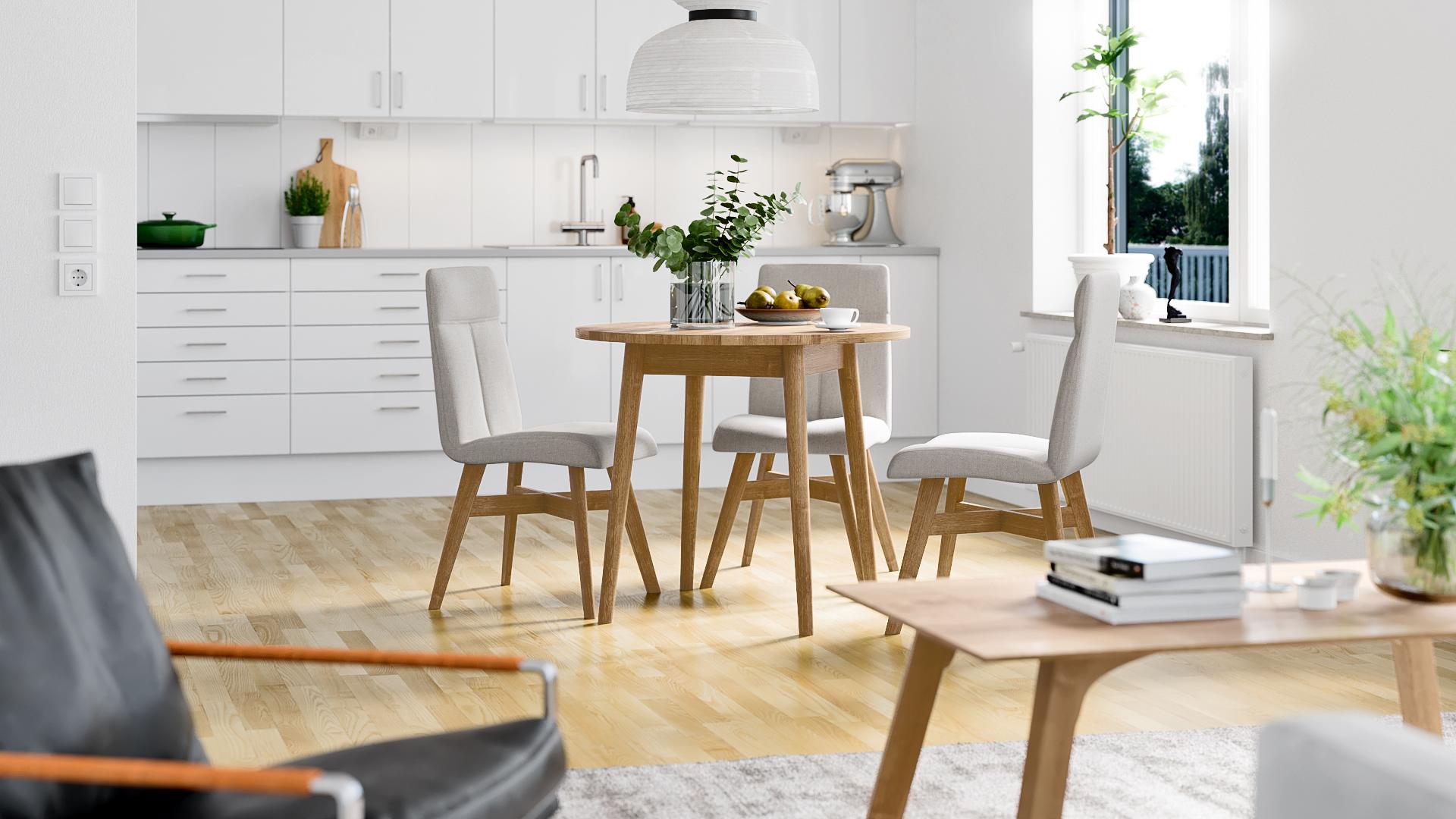 dining table in oak, ruokapöytä tammi, wooden dining table, puinen ruokapöytä, wooden dining tables, puiset ruokapöydät, dining table round, ruokapöytä pyöreä, dining chairs, ruokapöydän tuolit, wooden dining table chairs, puiset ruokapöydän tuolit, dining table chairs in oak,