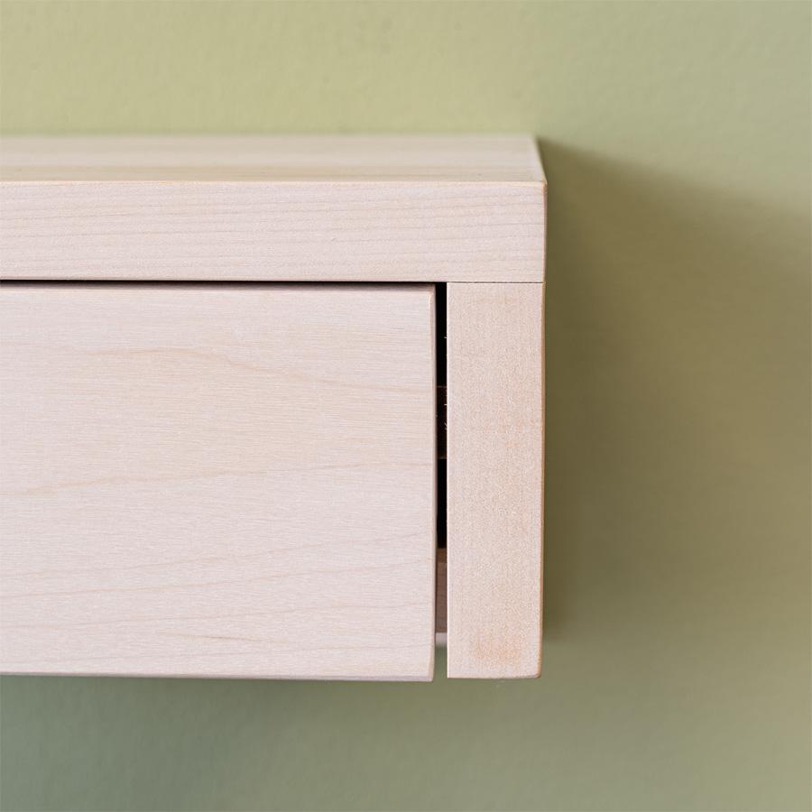 kelluva yöpöytä, floating nightstand, wooden nightstand, birch nightstand