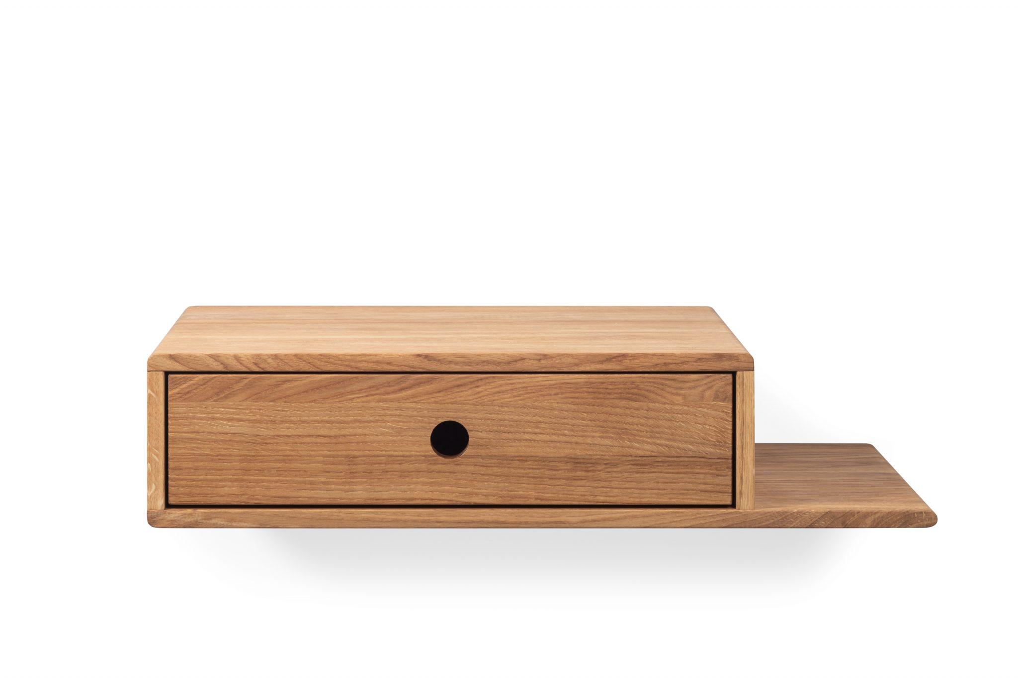 floating nightstand, kelluva yöpöytä, wooden nightstand, nightstand, oak nightstand, nightstand with shelf